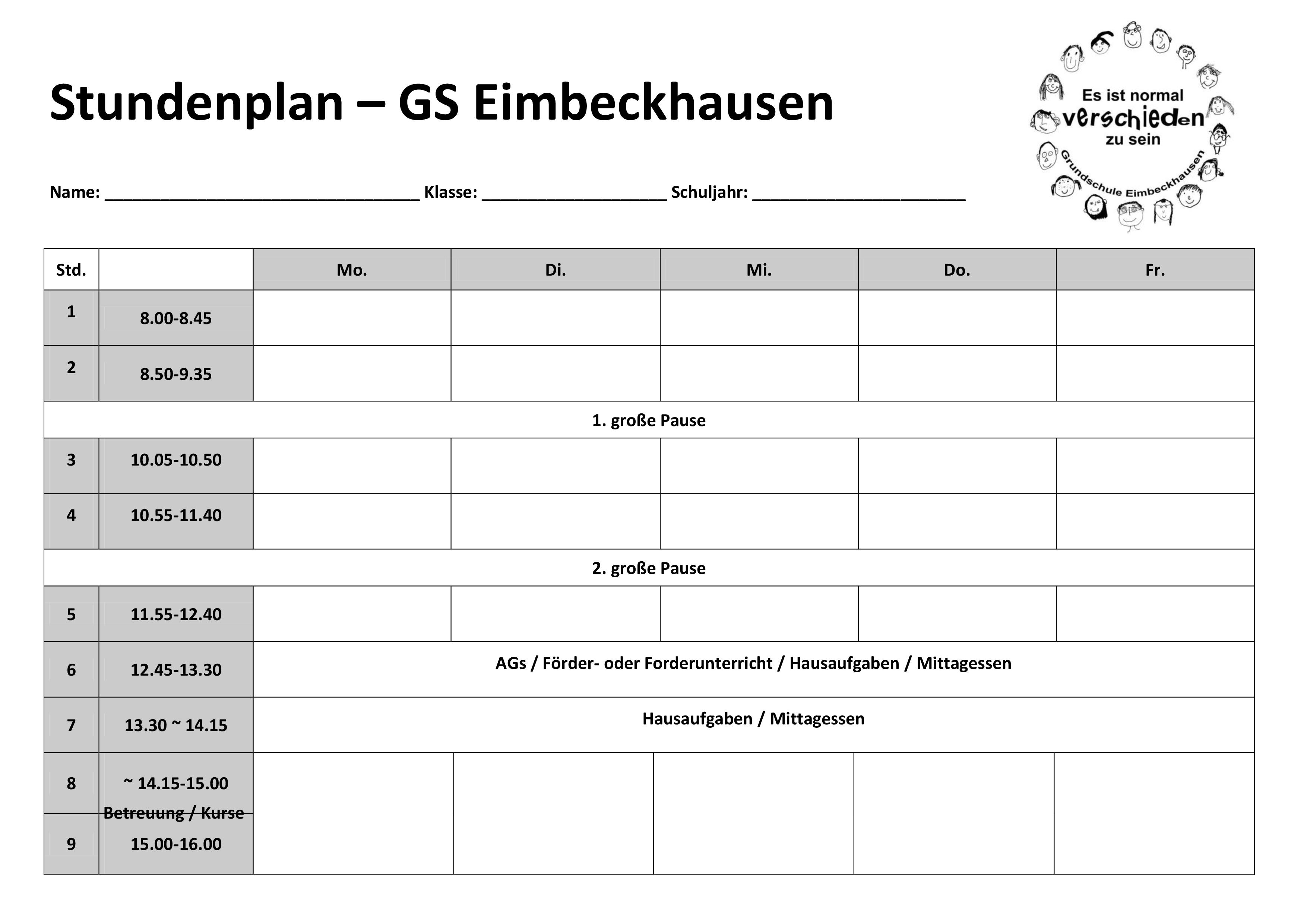Grundschule Eimbeckhausen - Stundenplan Vorlage